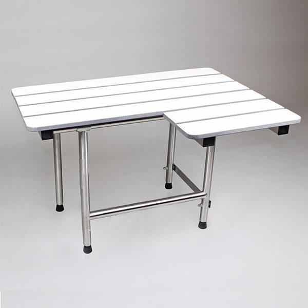 Folding Shower Seat, 4 Swing Down Legs, L-Shaped, White Phenolic SLAT Top, LEFT Hand