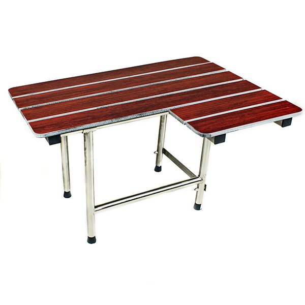 Folding Shower Seat, 4 Swing Down Legs, L-Shaped, Wood Phenolic SLAT Top, LEFT Hand