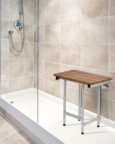 Folding Shower Seat, 4 Swing Down Legs, Rectangle, Teak SLAT Top