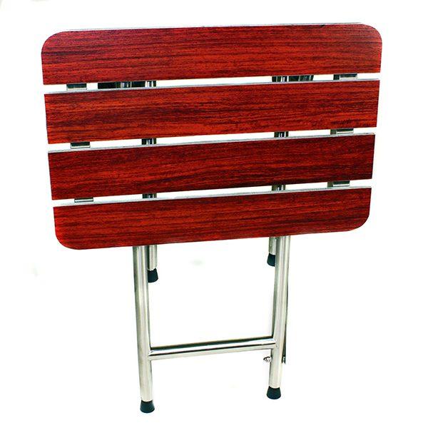 Folding Shower Seat, 4 Swing Down Legs, Rectangle, Wood Phenolic SLATTED Top