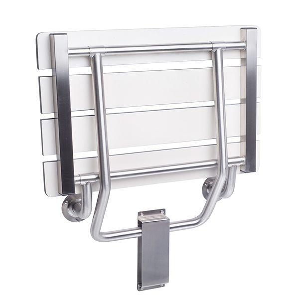 Folding Shower Seat, Wall Bracket Mount,Rectangular, White Phenolic SLATTED Top